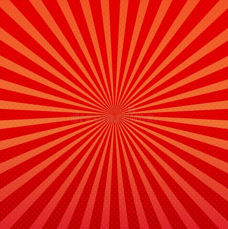 Διανυσματικό αφηρημένο υπόβαθρο των πορτοκαλιών και κόκκινων ακτίνων έκρηξης αστεριών ελεύθερη απεικόνιση δικαιώματος