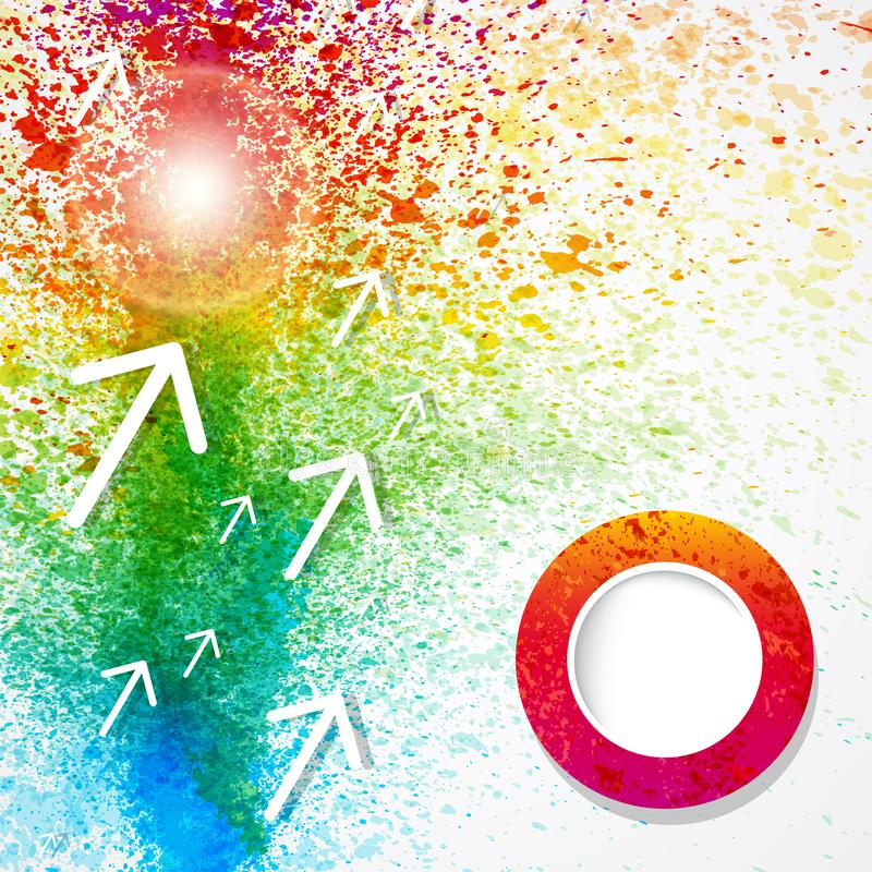 Διανυσματικό αφηρημένο υπόβαθρο watercolor ουράνιων τόξων με τα βέλη και το σχέδιο παφλασμών χρωμάτων ελεύθερη απεικόνιση δικαιώματος