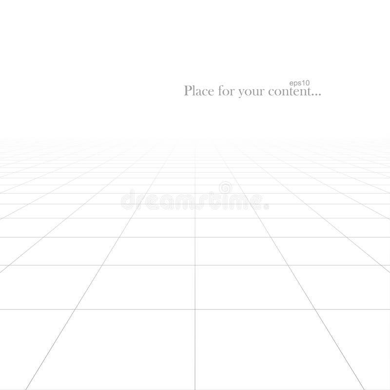Διανυσματικό αφηρημένο φουτουριστικό υπόβαθρο με την προοπτική απείρου Άσπρη τακτοποιημένη σύσταση πατωμάτων κεραμιδιών πλέγματος διανυσματική απεικόνιση