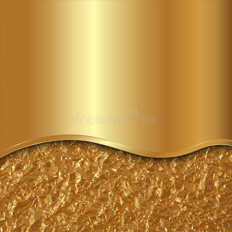 Διανυσματικό αφηρημένο χρυσό υπόβαθρο με την καμπύλη και το φύλλο αλουμινίου διανυσματική απεικόνιση