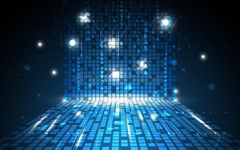 Διανυσματικό αφηρημένο ψηφιακό υπόβαθρο έννοιας τεχνολογίας σχεδίων ορθογωνίων διανυσματική απεικόνιση