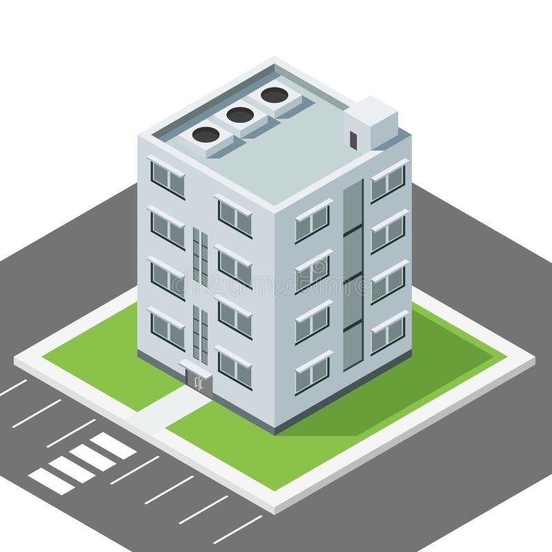 Διανυσματικό αφηρημένο isometric αστικό σπίτι κτηρίου επίπεδο στοκ εικόνες με δικαίωμα ελεύθερης χρήσης