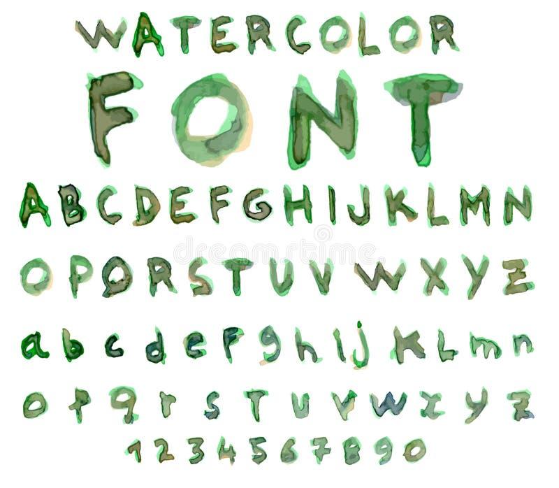 Διανυσματικό αλφάβητο με την πηγή watercolor ελεύθερη απεικόνιση δικαιώματος