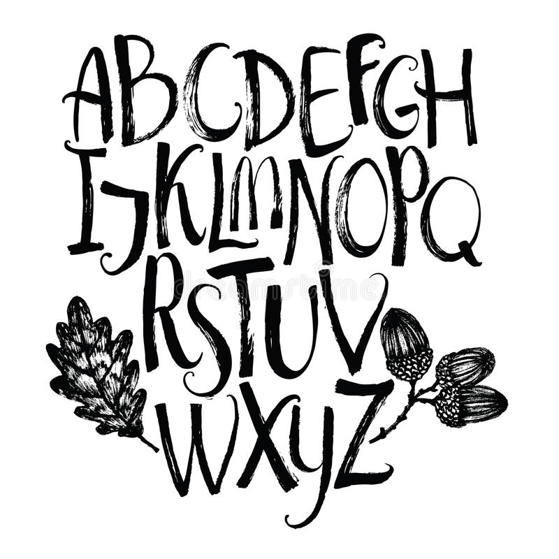 Διανυσματικό αλφάβητο με το δρύινα φύλλο και τα βελανίδια απεικόνιση αποθεμάτων