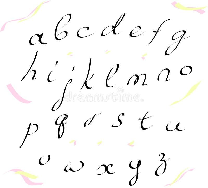 Διανυσματικό αλφάβητο πεζό που γράφει με μια βούρτσα στοκ φωτογραφία με δικαίωμα ελεύθερης χρήσης