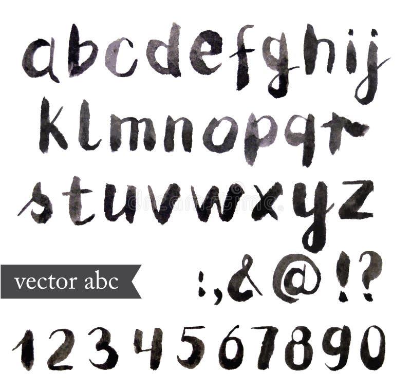 Διανυσματικό αλφάβητο watercolor διανυσματική απεικόνιση