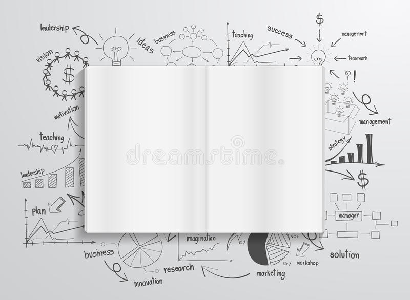 Διανυσματικό βιβλίο με τα διαγράμματα και τις γραφικές παραστάσεις σχεδίων διανυσματική απεικόνιση