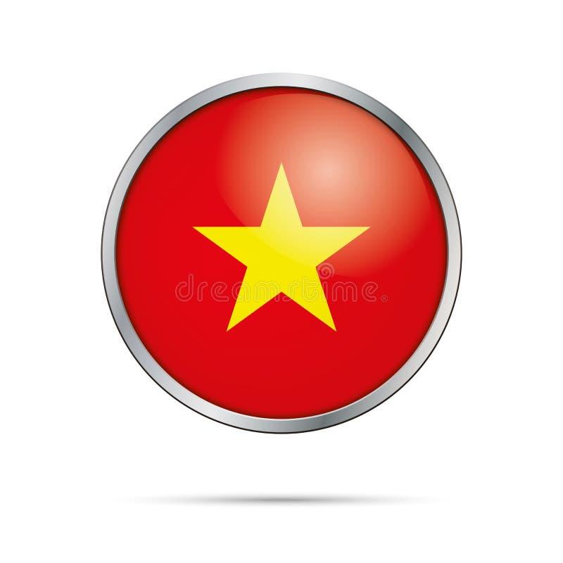 Διανυσματικό βιετναμέζικο κουμπί σημαιών Σημαία του Βιετνάμ στο styl κουμπιών γυαλιού απεικόνιση αποθεμάτων