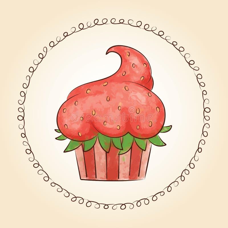 Διανυσματικό βλέμμα watercolor cupcake όπως τη φράουλα επίσης corel σύρετε το διάνυσμα απεικόνισης ελεύθερη απεικόνιση δικαιώματος