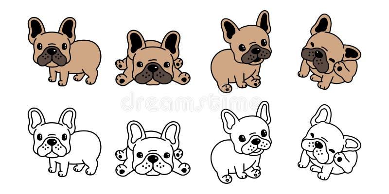 Διανυσματικό γαλλικό σύμβολο απεικόνισης χαρακτήρα κινουμένων σχεδίων εικονιδίων λογότυπων μπουλντόγκ σκυλιών καφετί απεικόνιση αποθεμάτων