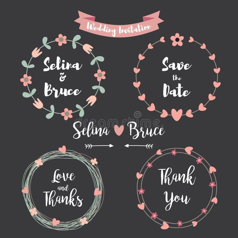 διανυσματικό γαμήλιο λευκό πρόσκλησης σχεδίων καρτών ανασκόπησης Το σύνολο floral πλαισίου για Thank εσείς λαναρίζει, ελεύθερη απεικόνιση δικαιώματος