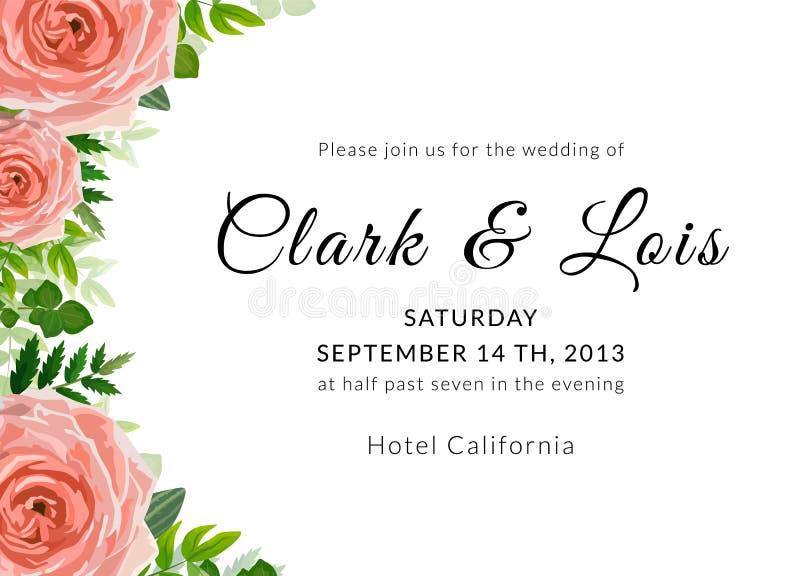 διανυσματικό γαμήλιο λευκό πρόσκλησης σχεδίων καρτών ανασκόπησης Καλό πρότυπο Σχέδιο καρτών με το ροδαλό λουλούδι, δασικές φτέρες ελεύθερη απεικόνιση δικαιώματος