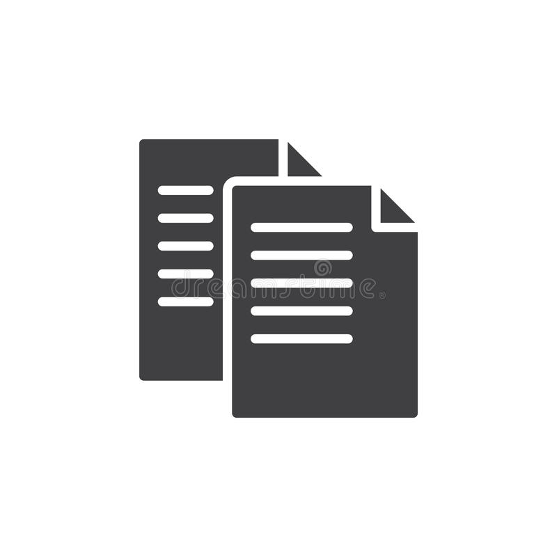 Διανυσματικό, γεμισμένο επίπεδο σημάδι εικονιδίων αρχείων αντιγράφων απεικόνιση αποθεμάτων