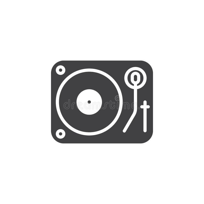Διανυσματικό, γεμισμένο επίπεδο σημάδι εικονιδίων περιστροφικών πλακών του DJ βινυλίου, στερεό pictogra διανυσματική απεικόνιση