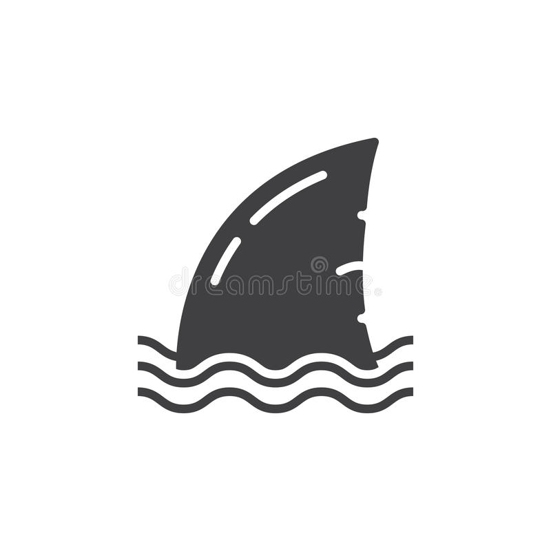 Διανυσματικό, γεμισμένο επίπεδο σημάδι εικονιδίων πτερυγίων καρχαριών απεικόνιση αποθεμάτων