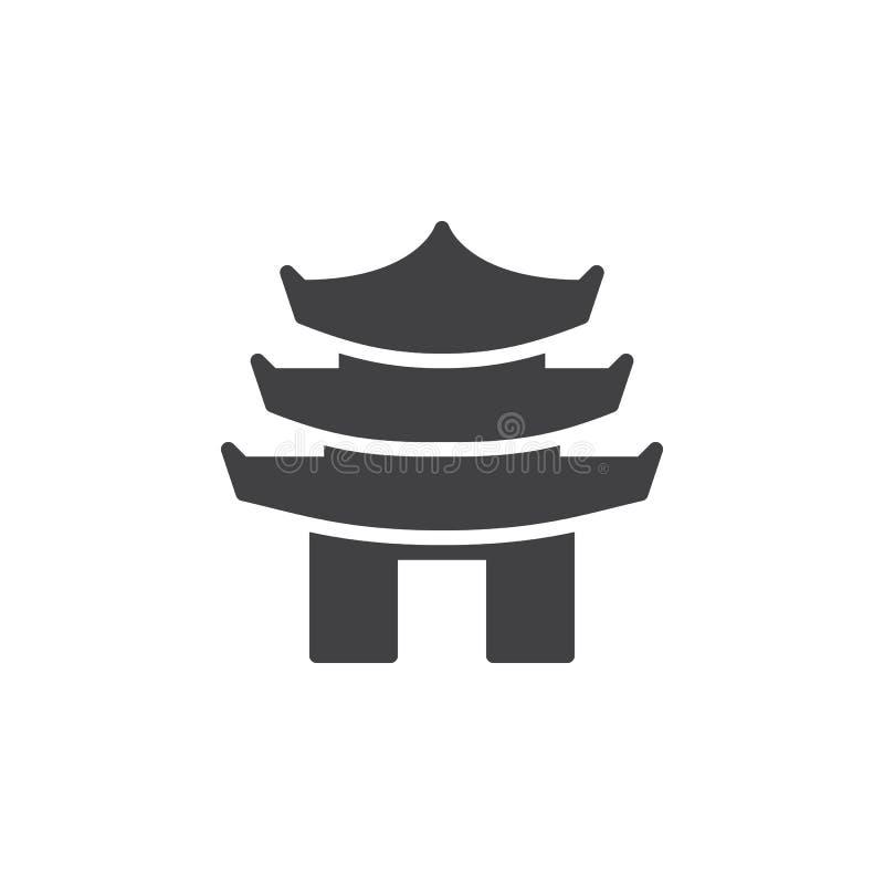 Διανυσματικό, γεμισμένο επίπεδο σημάδι εικονιδίων πύργων παγοδών τοποθετημένο στη σειρά, στερεό εικονόγραμμα που απομονώνεται στο απεικόνιση αποθεμάτων