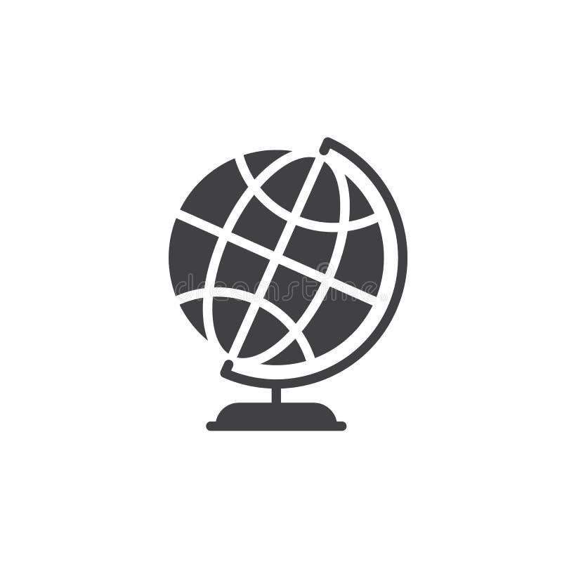 Διανυσματικό, γεμισμένο επίπεδο σημάδι εικονιδίων σφαιρών παγκόσμιας γης υπολογιστών γραφείου, στερεό εικονόγραμμα που απομονώνετ ελεύθερη απεικόνιση δικαιώματος