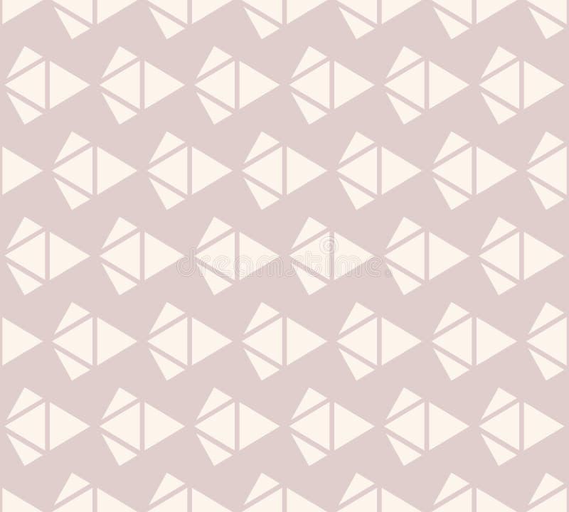 Διανυσματικό γεωμετρικό άνευ ραφής σχέδιο με τα διαμάντια στο μαλακό ρόδινο και μπεζ χρώμα ελεύθερη απεικόνιση δικαιώματος