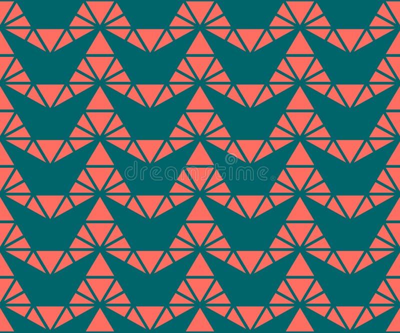 Διανυσματικό γεωμετρικό άνευ ραφής σχέδιο με τα τρίγωνα στο σκούρο πράσινο και χρώμα κοραλλιών διανυσματική απεικόνιση