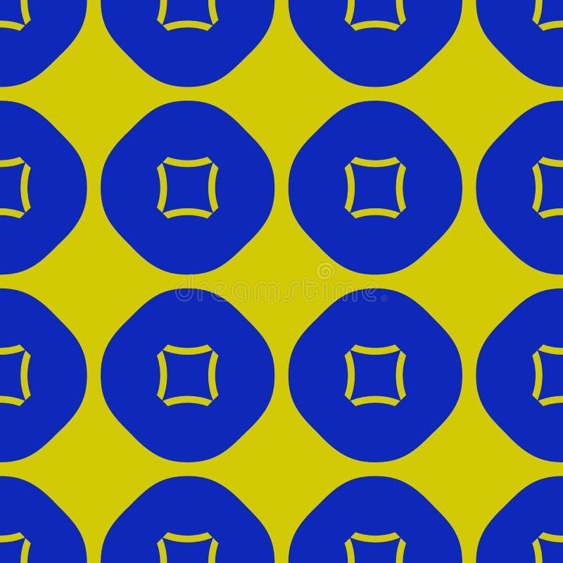 Διανυσματικό γεωμετρικό άνευ ραφής σχέδιο με τους κύκλους, τετράγωνα Πράσινα και μπλε χρώματα απεικόνιση αποθεμάτων