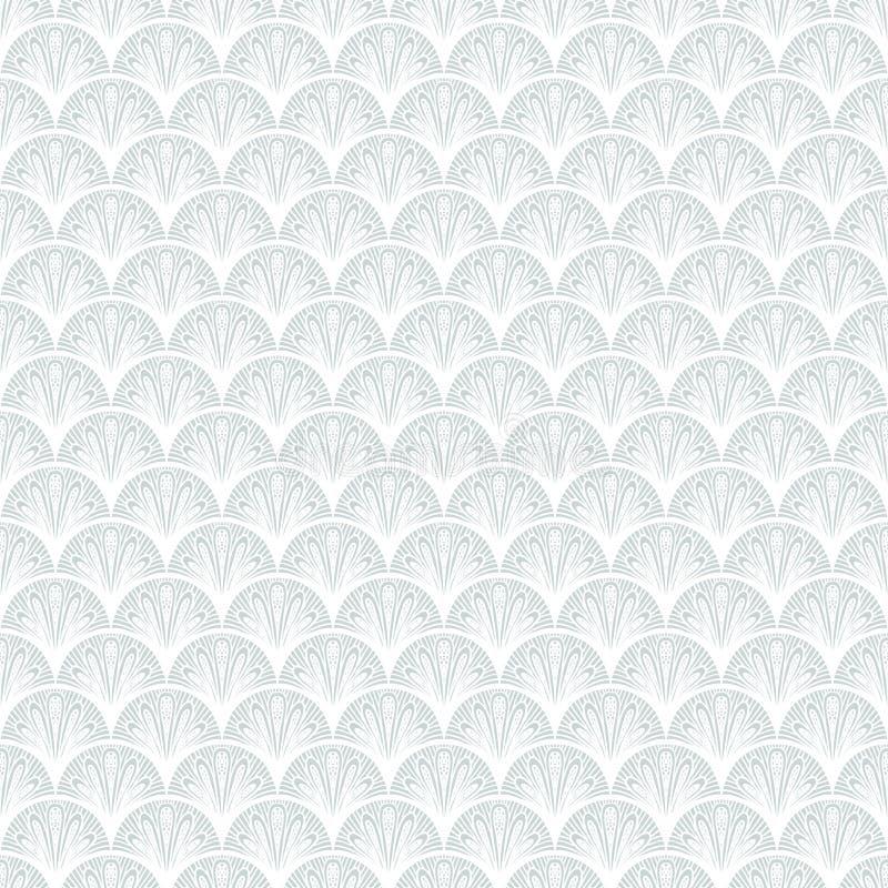 Διανυσματικό γεωμετρικό σχέδιο deco τέχνης στο ασημένιο λευκό. ελεύθερη απεικόνιση δικαιώματος