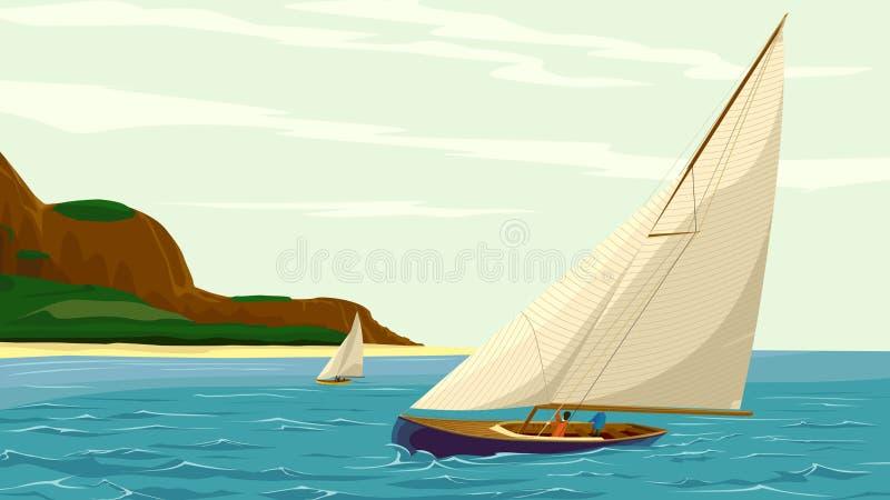 Διανυσματικό γιοτ αθλητικών πανιών ενάντια στο νησί. διανυσματική απεικόνιση