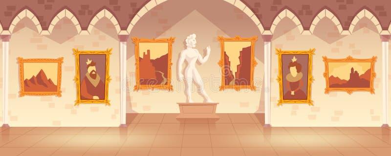Διανυσματικό γκαλερί τέχνης κινούμενων σχεδίων στο μεσαιωνικό παλάτι απεικόνιση αποθεμάτων