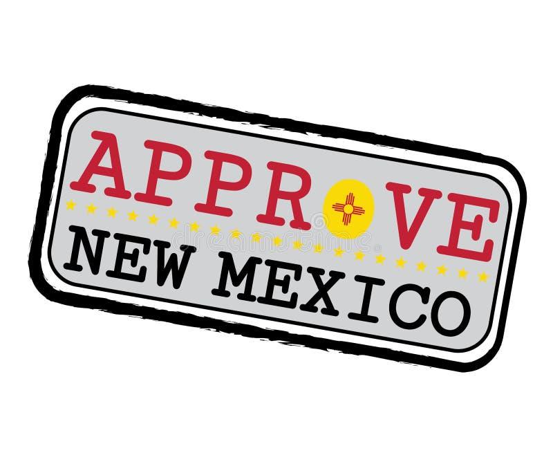Διανυσματικό γραμματόσημο για Approve το λογότυπο με τη σημαία Νέων Μεξικό με μορφή του Ο και του Νέου Μεξικό κειμένων διανυσματική απεικόνιση