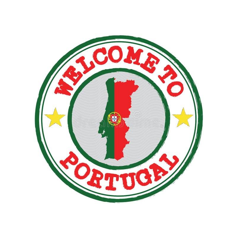 Διανυσματικό γραμματόσημο της υποδοχής στην Πορτογαλία με την περίληψη χαρτών των Πορτογάλων στο κέντρο διανυσματική απεικόνιση