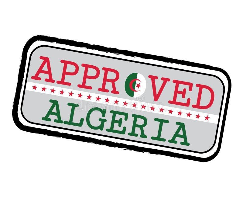 Διανυσματικό γραμματόσημο του εγκεκριμένου λογότυπου με την αλγερινή σημαία με μορφή του Ο και του κειμένου Αλγερία διανυσματική απεικόνιση