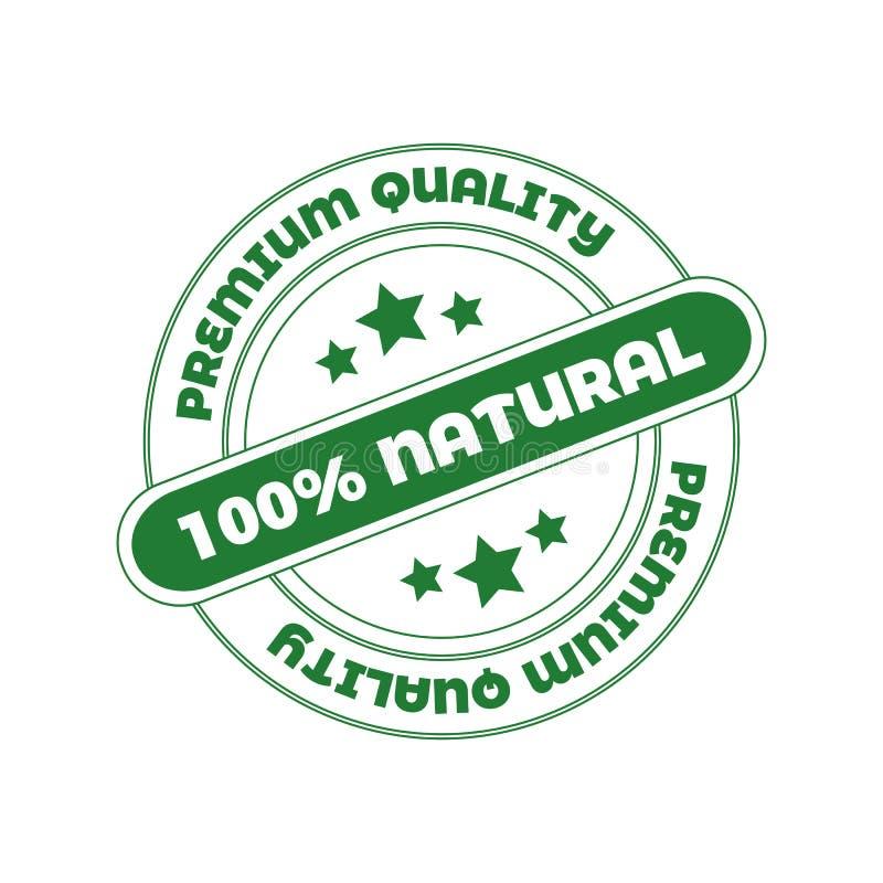 Διανυσματικό γραμματόσημο: 100 φυσικό, στοιχείο σχεδίου για τη συσκευασία καλλυντικών οργανικής τροφής στοκ φωτογραφίες