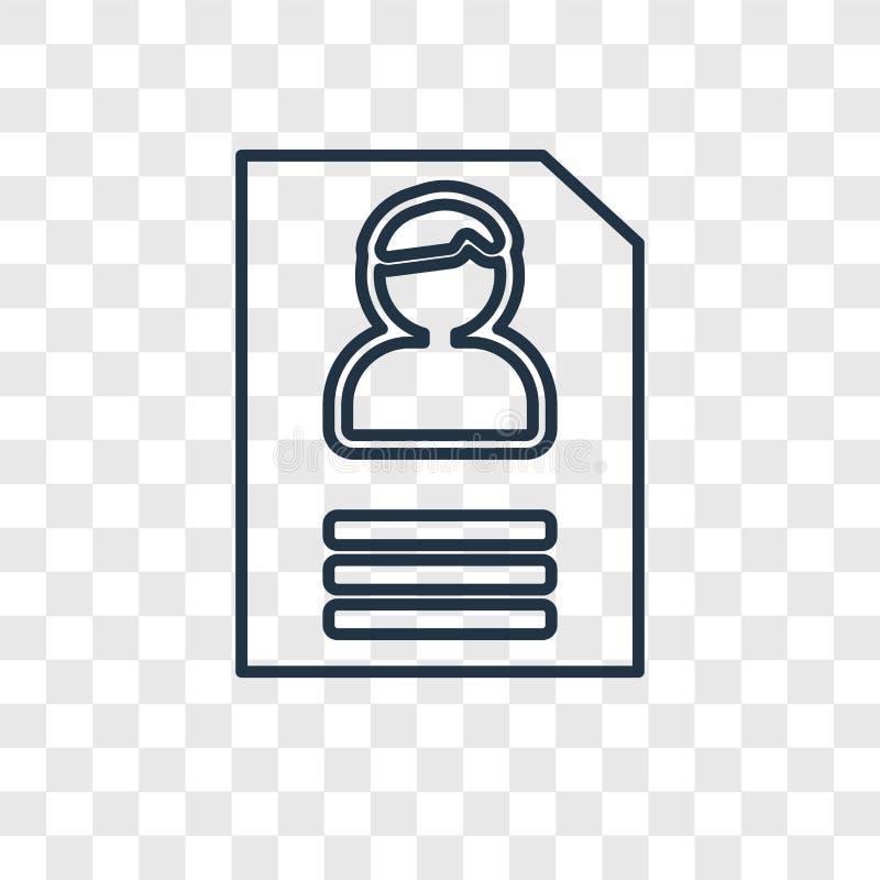 Διανυσματικό γραμμικό εικονίδιο έννοιας αίτησης υποψηφιότητας που απομονώνεται σε transpar ελεύθερη απεικόνιση δικαιώματος