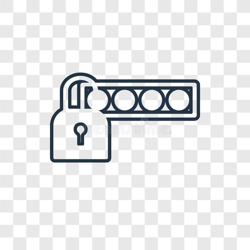 Διανυσματικό γραμμικό εικονίδιο έννοιας κωδικού πρόσβασης που απομονώνεται στη διαφανή πλάτη ελεύθερη απεικόνιση δικαιώματος