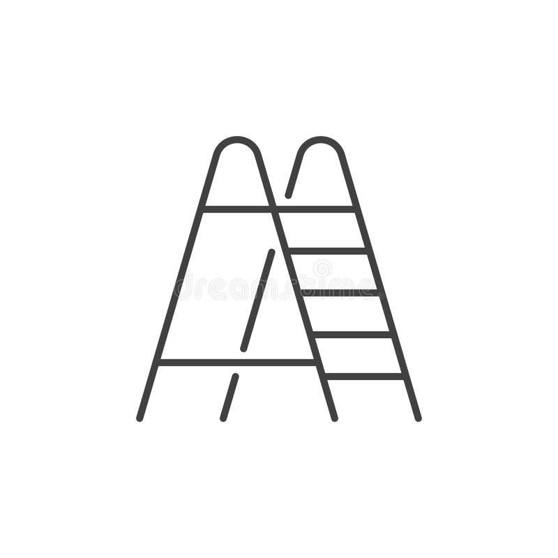 Διανυσματικό γραμμικό εικονίδιο σκαλών Σημάδι Stepladder στο ύφος περιλήψεων ελεύθερη απεικόνιση δικαιώματος