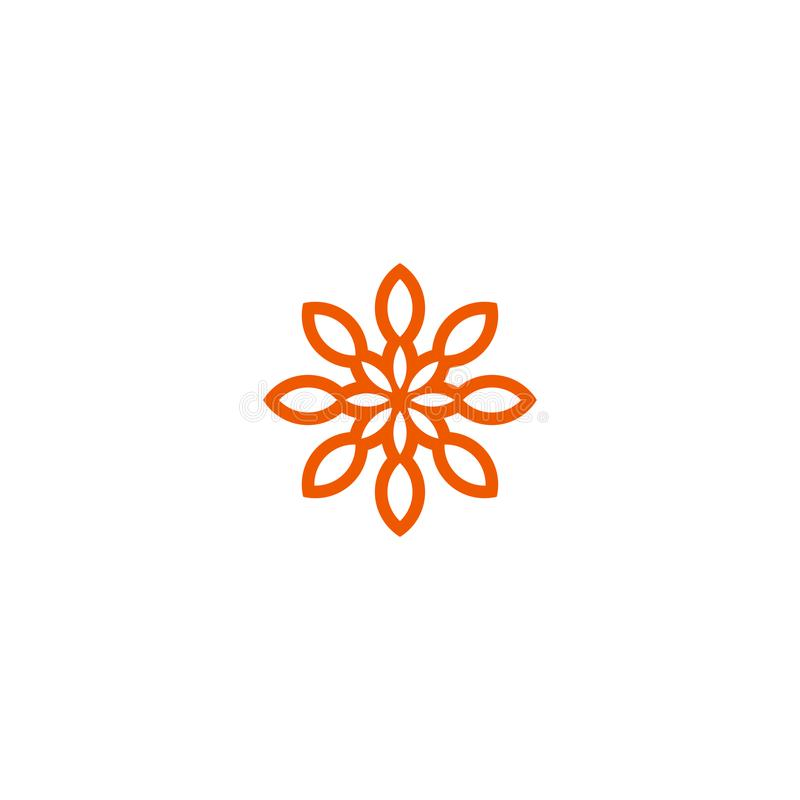Διανυσματικό γραμμικό λογότυπο λουλουδιών Πορτοκαλί εικονίδιο ήλιων τέχνης γραμμών Αφηρημένο σύμβολο κήπων περιλήψεων απεικόνιση αποθεμάτων