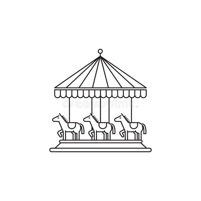 Διανυσματικό γραμμικό σχέδιο εικονιδίων ιπποδρομίων που απομονώνεται στο άσπρο υπόβαθρο Πρότυπο λογότυπων πάρκων, στοιχείο για το απεικόνιση αποθεμάτων