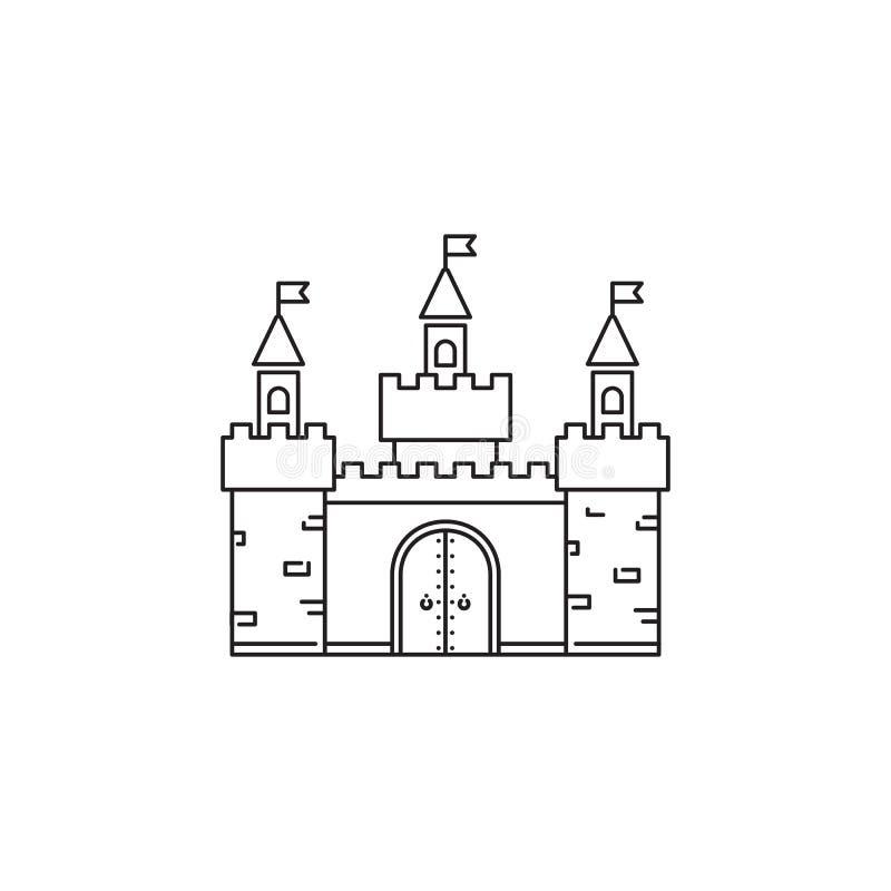 Διανυσματικό γραμμικό σχέδιο εικονιδίων του Castle που απομονώνεται στο άσπρο υπόβαθρο Πρότυπο λογότυπων πάρκων, στοιχείο για το  απεικόνιση αποθεμάτων