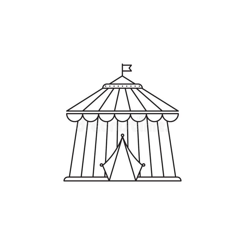 Διανυσματικό γραμμικό σχέδιο εικονιδίων τσίρκων που απομονώνεται στο άσπρο υπόβαθρο Πρότυπο λογότυπων πάρκων, στοιχείο για το λού διανυσματική απεικόνιση