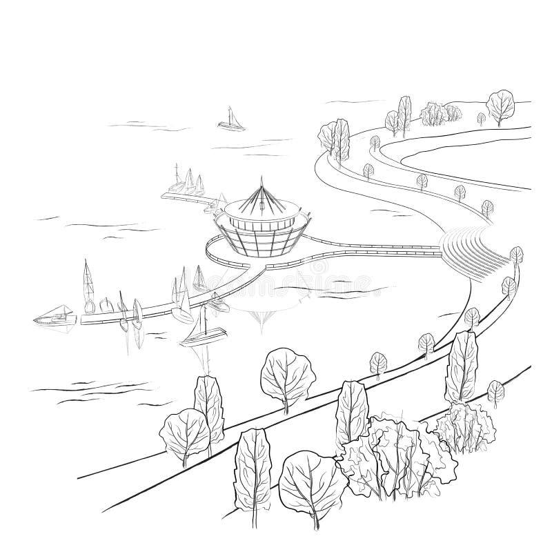 Διανυσματικό γραμμικό τοπίο με την αποβάθρα και τις βάρκες ελεύθερη απεικόνιση δικαιώματος