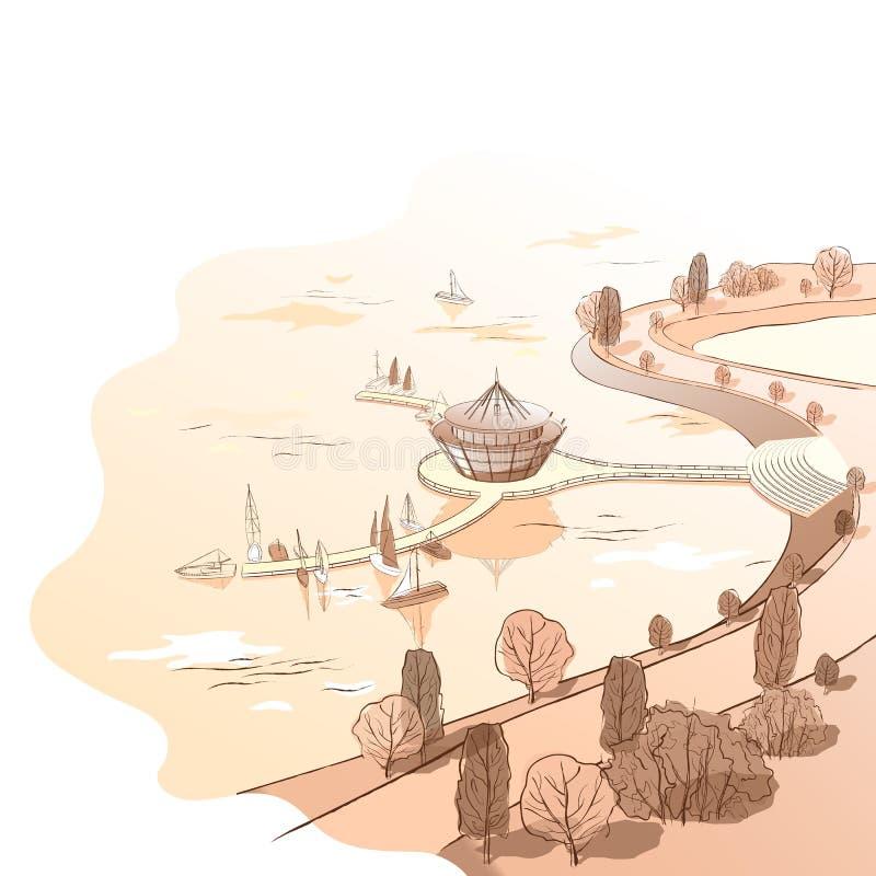 Διανυσματικό γραμμικό τοπίο σεπιών με την αποβάθρα και τις βάρκες ελεύθερη απεικόνιση δικαιώματος