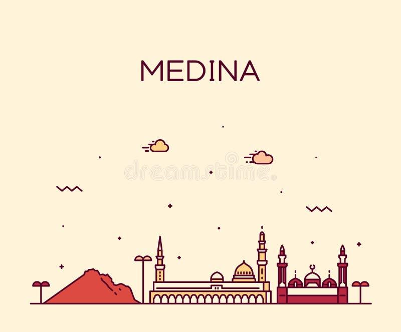Διανυσματικό γραμμικό ύφος της Σαουδικής Αραβίας οριζόντων Medina ελεύθερη απεικόνιση δικαιώματος