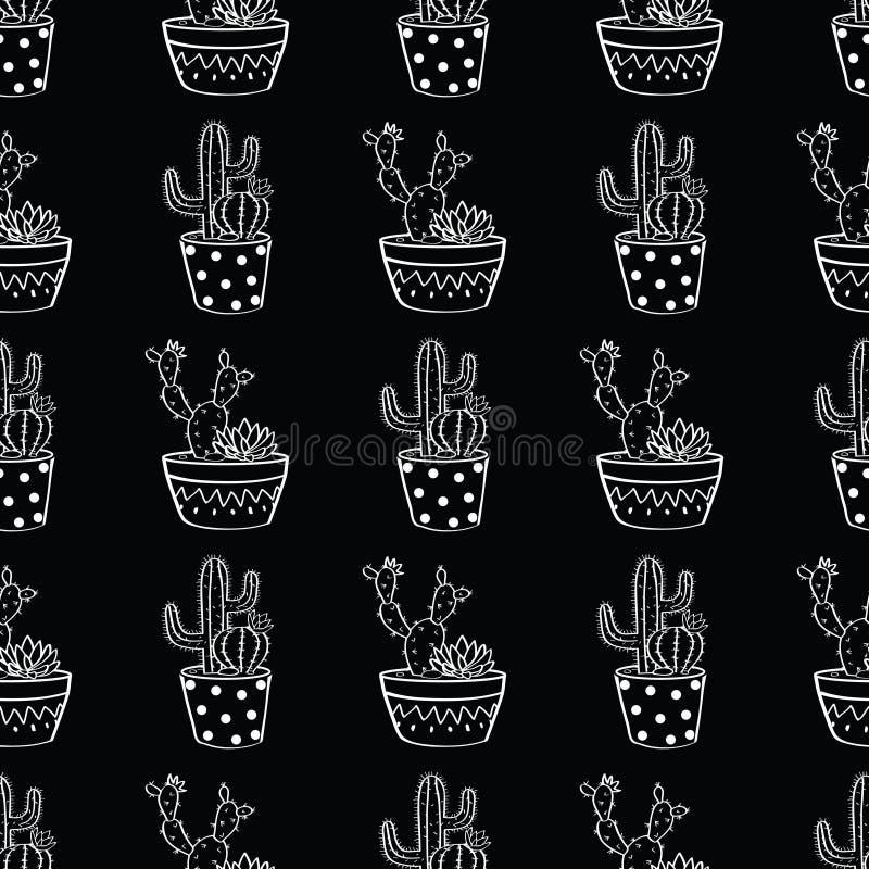 Διανυσματικό γραπτό άνευ ραφής σχέδιο με τους κάκτους και succulents στα δοχεία διανυσματική απεικόνιση