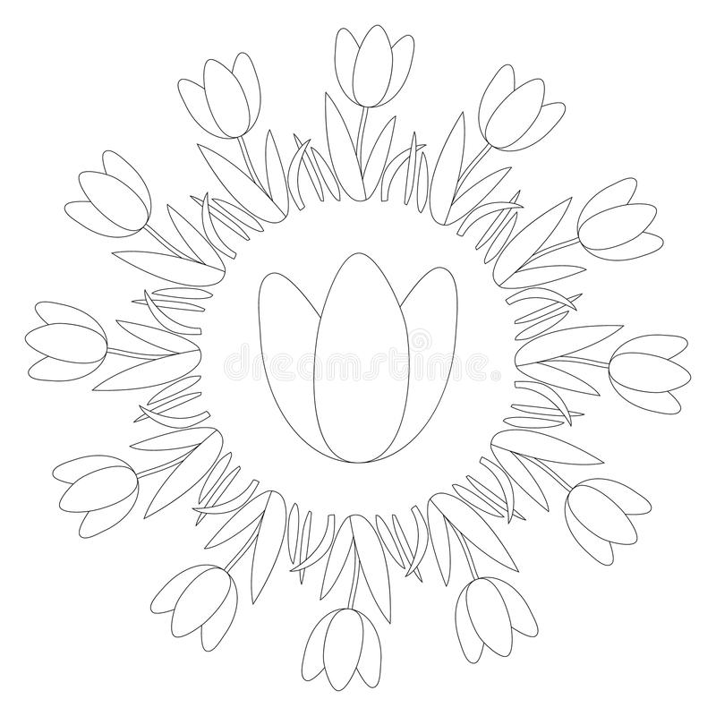 Διανυσματικό γραπτό στρογγυλό mandala άνοιξη με την τουλίπα λουλουδιών - ενήλικη χρωματίζοντας σελίδα βιβλίων διανυσματική απεικόνιση