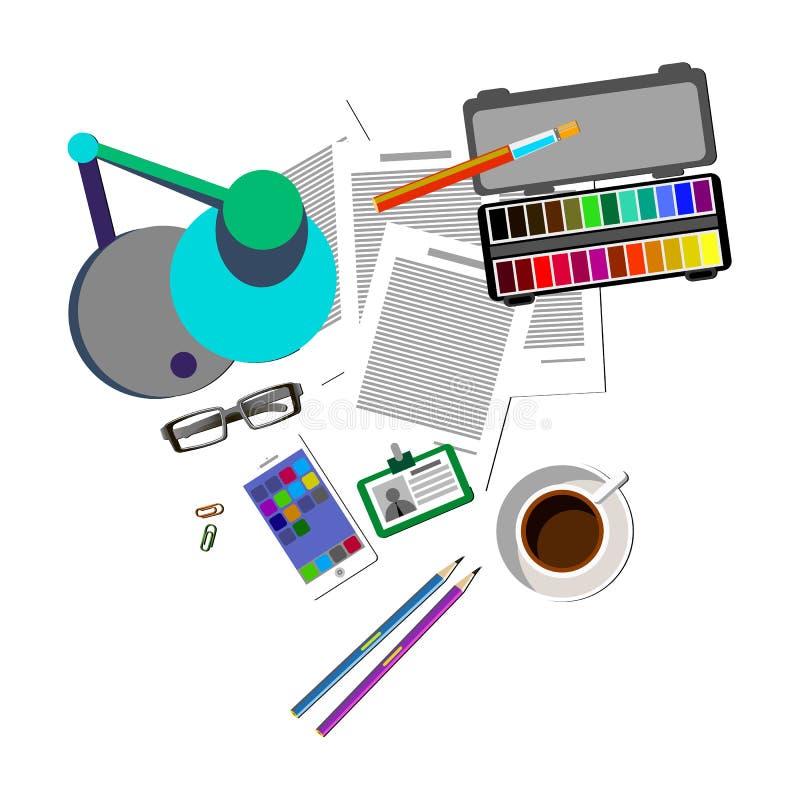 Διανυσματικό γραφείο εικονιδίων γραφείων επιχειρησιακών υπολογιστών απεικόνιση αποθεμάτων