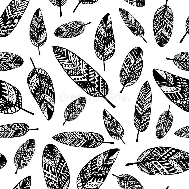 Διανυσματικό γραφικό άνευ ραφής σχέδιο από τα φύλλα σκιαγραφιών ελεύθερη απεικόνιση δικαιώματος