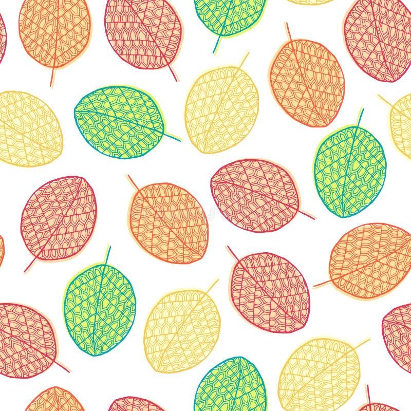Διανυσματικό γραφικό άνευ ραφής σχέδιο από τα φύλλα σκιαγραφιών διανυσματική απεικόνιση