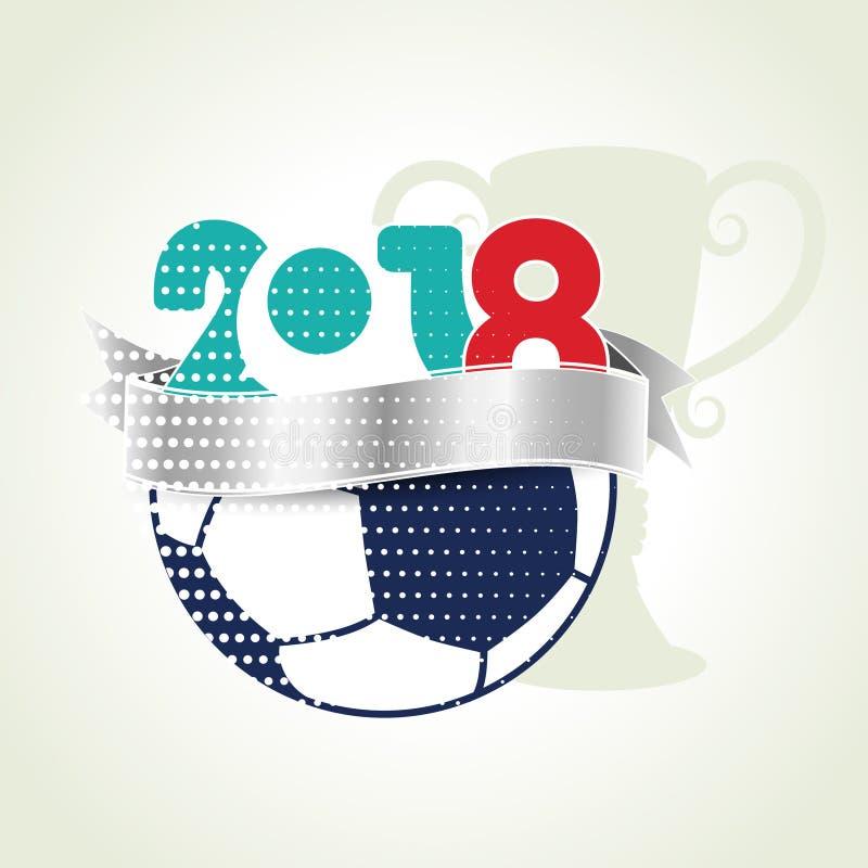 Διανυσματικό γραφικό σχέδιο του εμβλήματος με τη σφαίρα ποδοσφαίρου και το τρόπαιο νικητών 2018, υπόβαθρο του Παγκόσμιου Κυπέλλου διανυσματική απεικόνιση