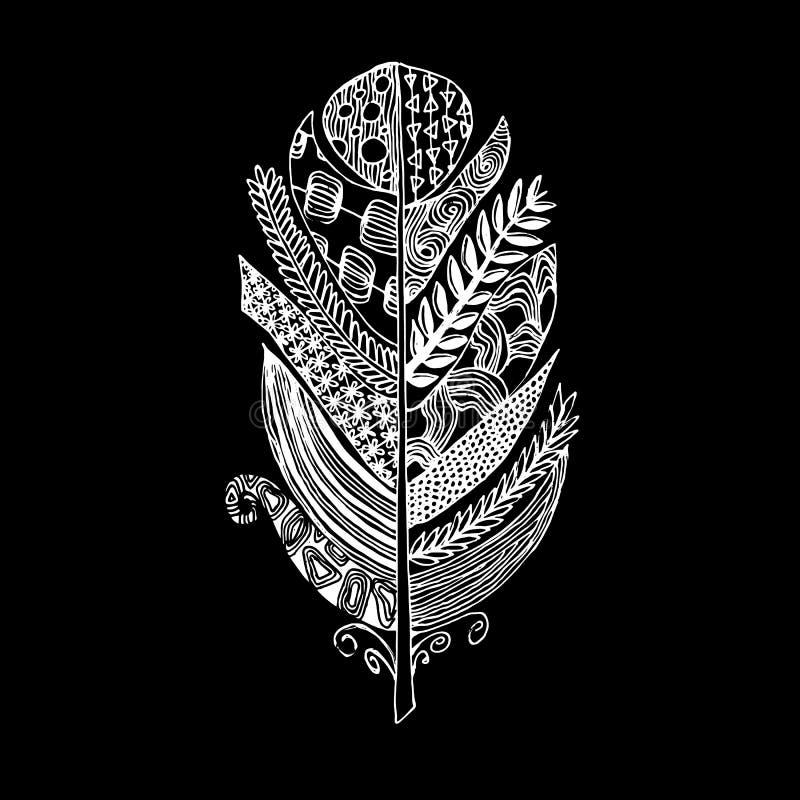 Διανυσματικό γραφικό φτερό πουλιών σκιαγραφιών hand-drawn απεικόνιση αποθεμάτων