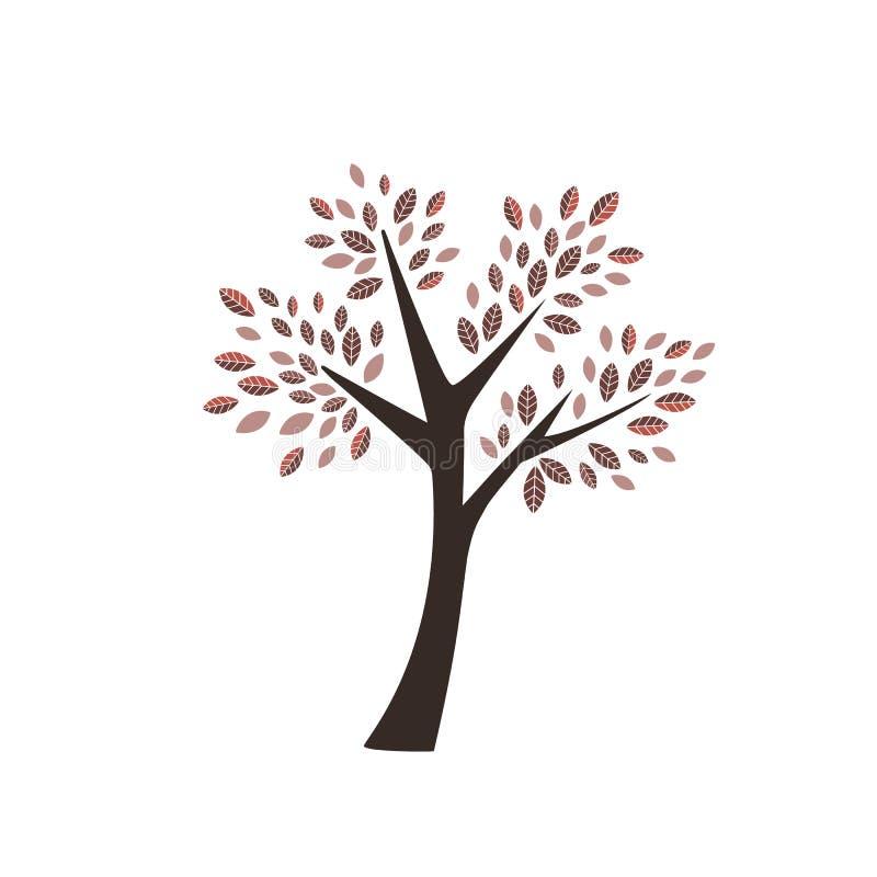 Διανυσματικό δέντρο φθινοπώρου με τα σκοτεινά και ανοικτό κόκκινο πορτοκαλιά φύλλα με το καφετί δασικό φυτό λογότυπων εικονιδίων  διανυσματική απεικόνιση