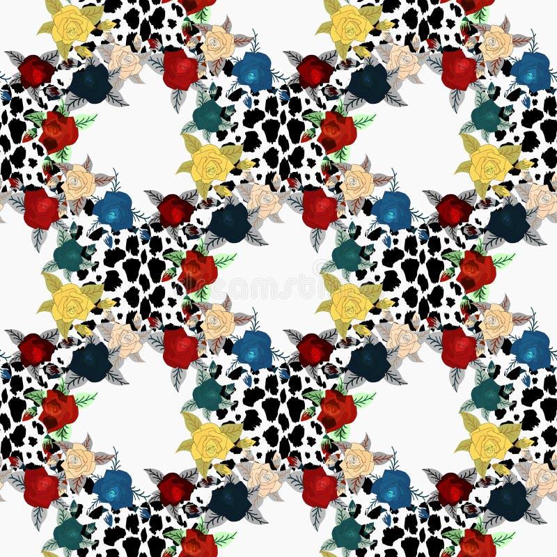 Διανυσματικό δέρμα λεοπαρδάλεων και άνευ ραφής σχέδιο λουλουδιών Χρωματισμένη χέρι απεικόνιση στο γεωμετρικό υπόβαθρο eps10 ελεύθερη απεικόνιση δικαιώματος